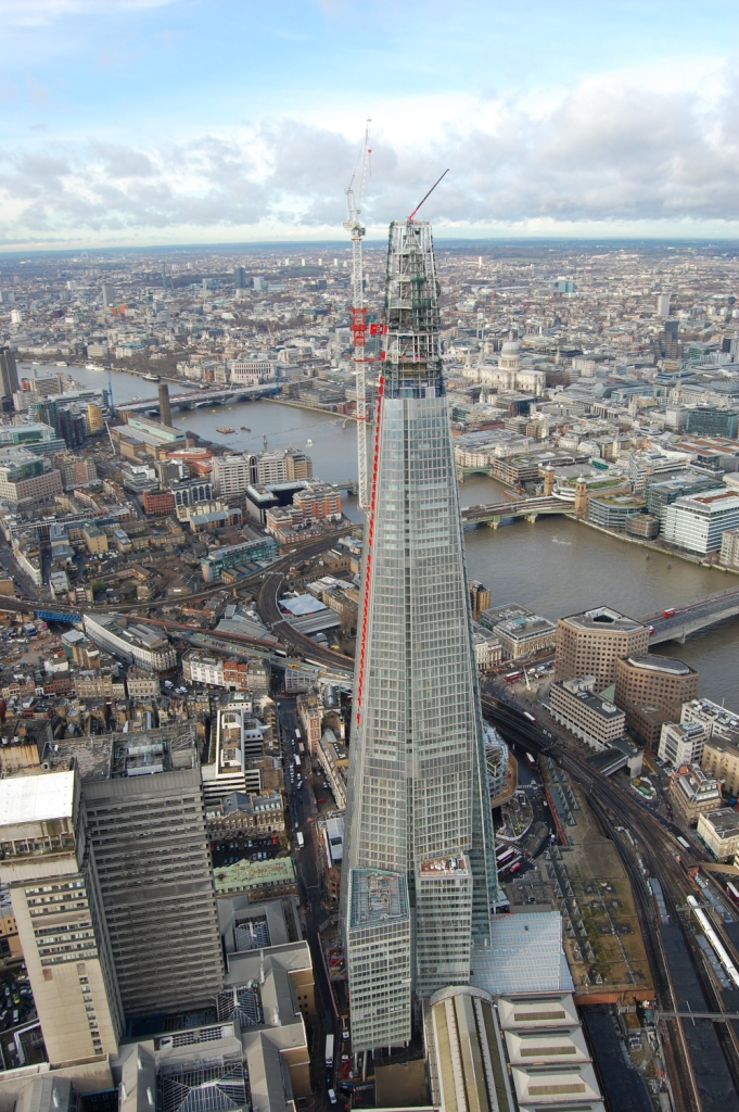 UNIC Mini Spider Crane on top of The Shard